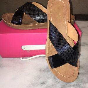 Shoes - NIB On Trend Black Metallic X Slip on Sandals sz 9
